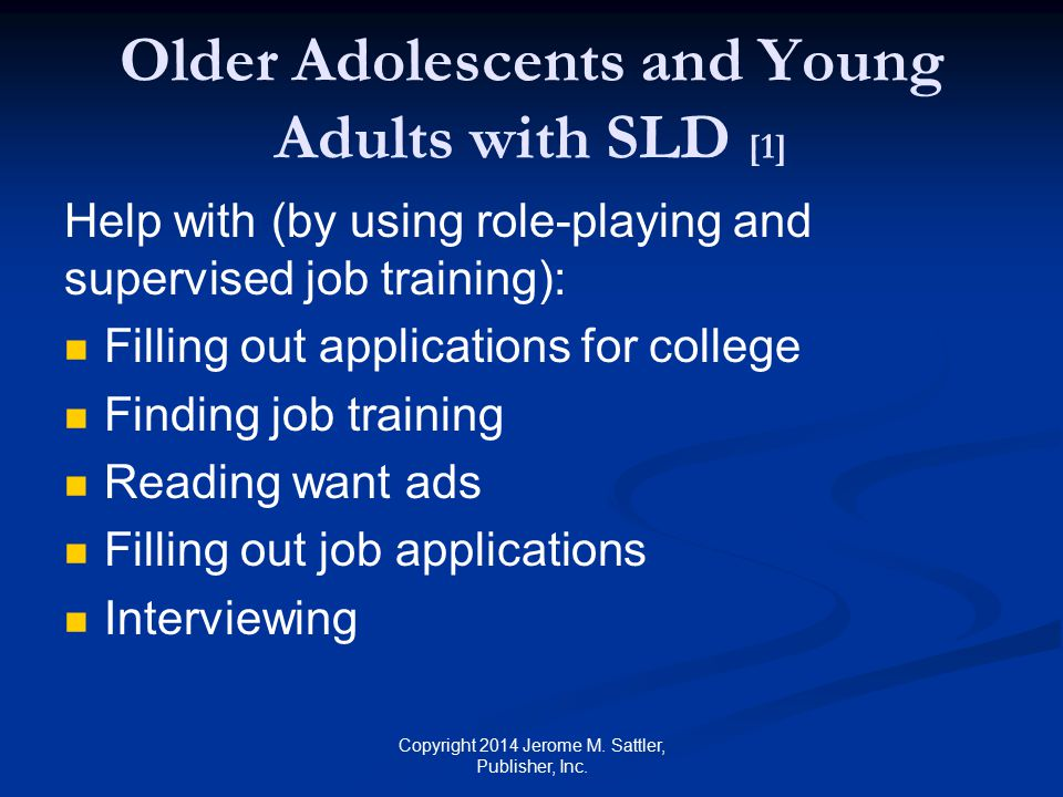 Older Adolescents and Young Adults with SLD [1]